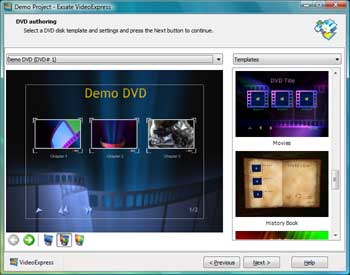 Converts DV to DVD with DV date-time stamp, menus, chapters, transitions